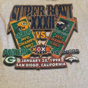 VTG Packers Broncos 1998 Super Bowl XXXII Shirt XL